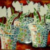 Mosaic Tulips in Pots