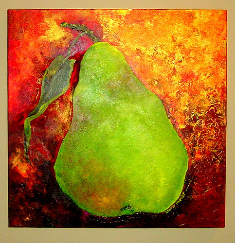 Title:  Pear on Gold Media:  ? Size:  16x16 Price:  $165.00 - sold