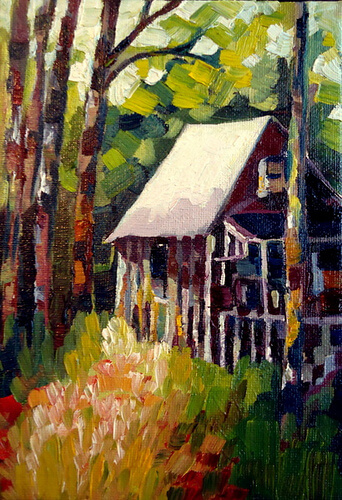 Title:  Cabin Media:  Oil on Canvas Panel Size:  5x7 Price:  $65.00
