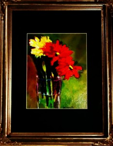 This painting has been beautifully matted and framed (mat is dark teal/green)(frame is copper and silver)$180.00